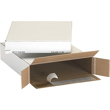 11.125in.(L) x 2in.(W) x 8.75in.(H) - Staples White Self-Seal Side Loading Boxes, 25/Bundle