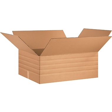 30in.(L) x 24in.(W) x 12in.(H) - Staples Multi-Depth Corrugated Shipping Boxes, 15/Bundle