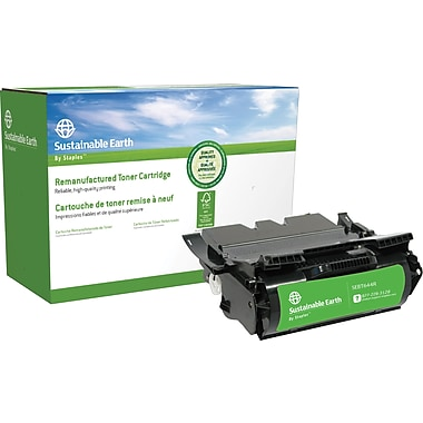 Sustainable Earth by Staples Reman Black Toner Cartridge, Lexmark T644, Extra High-Yield (SEBT644R)
