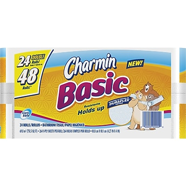 Charmin® Basic Bath Tissue Rolls, 1-Ply, 24 Rolls/Case