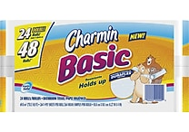 Charmin® Basic Bath Tissue Rolls, 1-Ply, 24 Double Rolls/Case