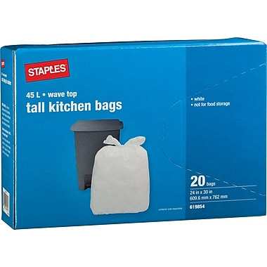 Staples® Tall Kitchen Garbage Bags, Wave Top, White, 24