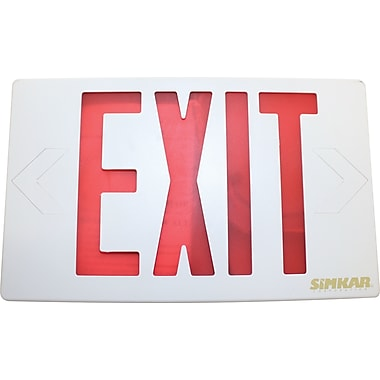 Red LED Exit Sign, 120-277 Volt Single- or Double-Sided with Battery Back-up