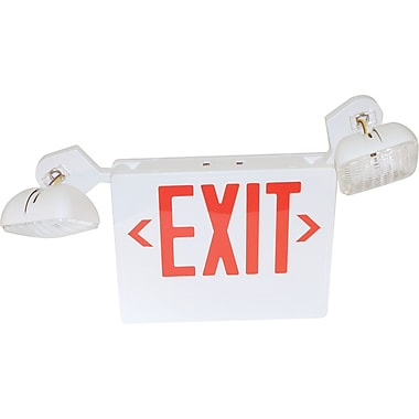 120-277 Volt Red LED Exit Sign with Emergency Lights