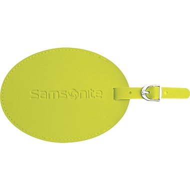 Samsonite® Large Round Vinyl ID Tag, Neon Green
