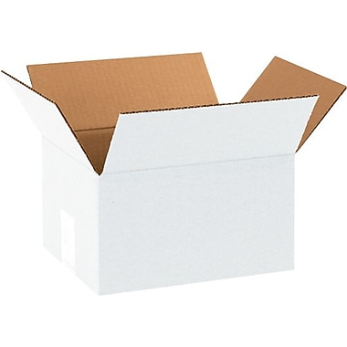 10in.(L) x 8in.(W) x 6in.(H) - Staples White Corrugated Shipping Boxes, 25/Bundle