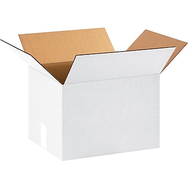15in.(L) x 12in.(W) x 10in.(H) - Staples White Corrugated Shipping Boxes, 25/Bundle