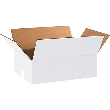 18in.(L) x 12in.(W) x 6in.(H) - Staples White Corrugated Shipping Boxes, 25/Bundle