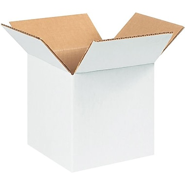 5in.(L) x 5in.(W) x 5in.(H) - Staples White Corrugated Shipping Boxes, 25/Bundle