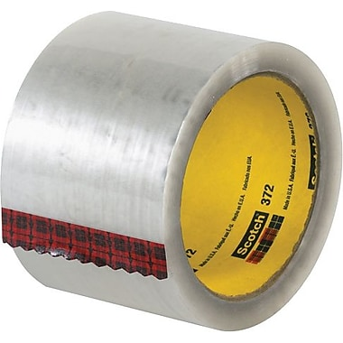 3M #372 Hot Melt Packaging Tape, 3in. x 110 yds., Clear, 24/Case