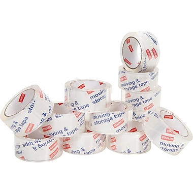 Staples® Moving and Storage Packing Tape, 1.88in. x 54.6 yds, Clear, 12/Pack