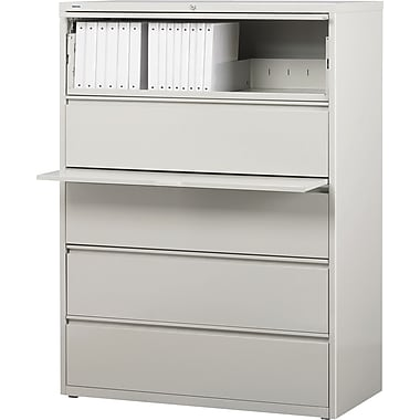 Staples® HL8000 Commercial 42in. Wide 5 Drawer Lateral File Cabinet, Light Gray