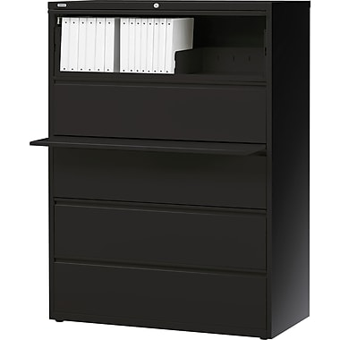 Staples® HL8000 Commercial 42in. Wide 5 Drawer Lateral File Cabinet, Black