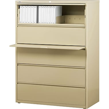 Staples® HL8000 Commercial 42in. Wide 5 Drawer Lateral File Cabinet, Putty
