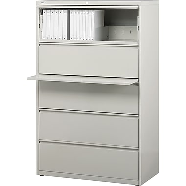 Staples® HL8000 Commercial 36in. Wide 5-Drawer Lateral File Cabinets, Light Gray