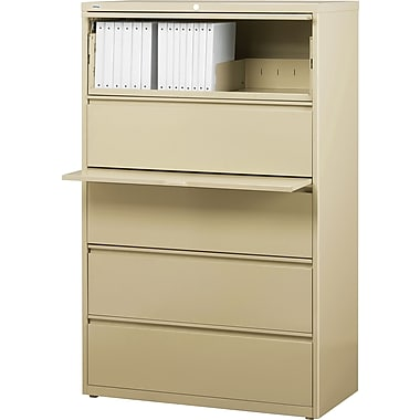 Staples® HL8000 Commercial 36in. Wide 5-Drawer Lateral File Cabinets, Putty