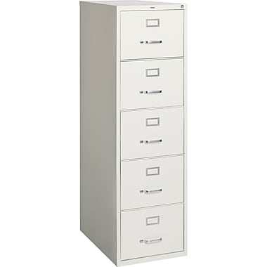 Staples® Vertical File Cabinet, 26-1/2in., 5-Drawer, Legal Size, Light Gray