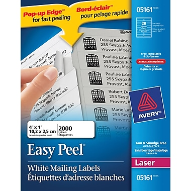 staples white mailing labels template - avery easy peel white laser address labels 4 x 1