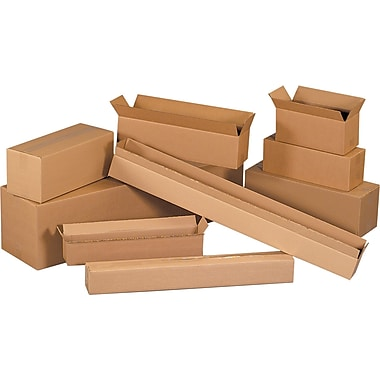 26in.(L) x 8in.(W) x 8in.(H) - Staples® Corrugated Shipping Boxes, 25/Bundle