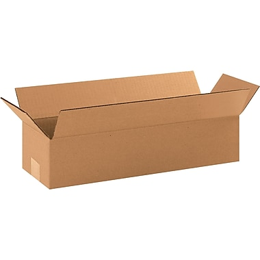 18in.(L) x 4in.(W) x 4in.(H) - Staples® Corrugated Shipping Boxes, 25/Bundle