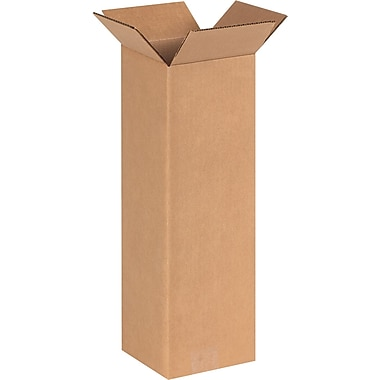 6in.(L) x 6in.(W) x 20in.(H) - Staples® Corrugated Shipping Boxes, 25/Bundle
