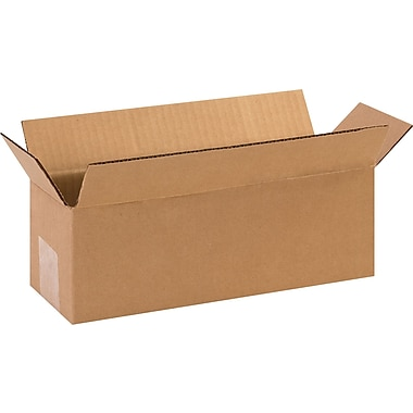 16in.(L) x 4in.(W) x 4in.(H) - Staples® Corrugated Shipping Boxes, 25/Bundle