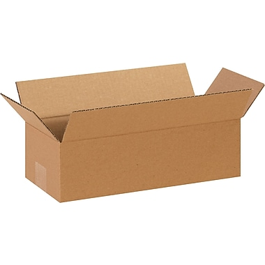14in.(L) x 4in.(W) x 4in.(H) - Staples® Corrugated Shipping Boxes, 25/Bundle