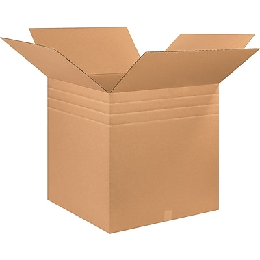 26in.(L) x 26in.(W) x 26in.(H) - Staples® Multi Depth Corrugated Shipping Boxes, 10/Bundle