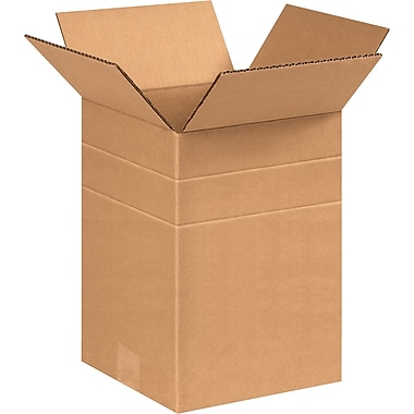 8 1/2in.(L) x 8 1/2in.(W) x 12in.(H) - Staples® Multi-Depth Corrugated Shipping Boxes, 25/Bundle