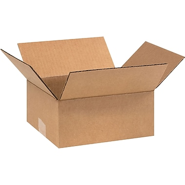 9in.(L) x 8in.(W) x 4in.(H) - Staples® Corrugated Shipping Boxes, 25/Bundle