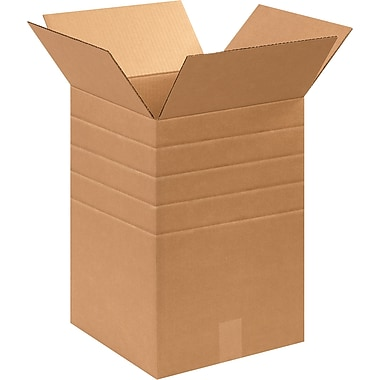 12in.(L) x 12in.(W) x 18in.(H) - Staples® Multi-Depth Corrugated Shipping Boxes, 25/Bundle