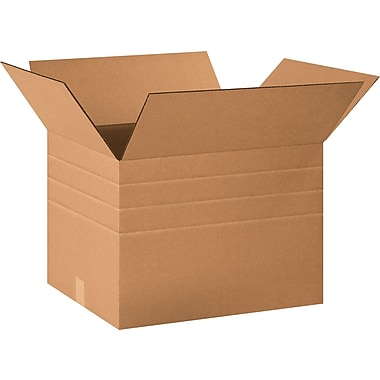 20in.(L) x 16in.(W) x 14in.(H) - Staples® Multi-Depth Corrugated Shipping Boxes, 20/Bundle