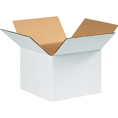 8in.(L) x 8in.(W) x 6in.(H) - Staples White Corrugated Shipping Boxes, 25/Bundle