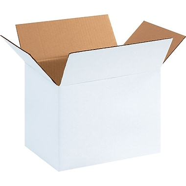 11.75in.(L) x 8.75in.(W) x 8.75in.(H) - Staples® White Corrugated Shipping Boxes, 25/Bundle