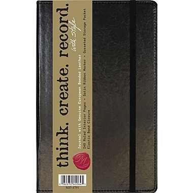 C.R. Gibson Genuine European Bonded Leather Journal, Assorted Black & Brown, 5-1/4in. x 8in.