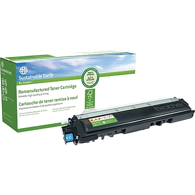 Sustainable Earth by Staples® Remanufactured Cyan Toner Cartridge, Brother TN-210C
