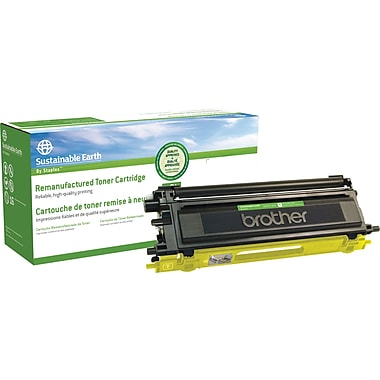 Sustainable Earth by Staples® Remanufactured Color Laser Toner Cartridge, Brother TN110, Yellow