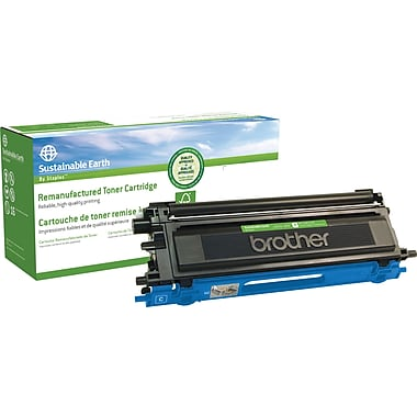 Sustainable Earth by Staples® Remanufactured Color Laser Toner Cartridge, Brother TN110, Cyan
