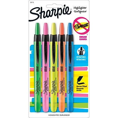 Sharpie® Accent® Retractable Highlighters, Chisel Tip, Assorted Colors, 5/Pack