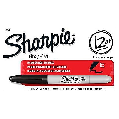 Sharpie® Fine Point Permanent Markers, Black, Dozen Box