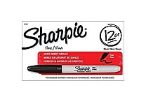 Sharpie® Fine Point Permanent Markers, Black, Dozen Box