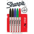 Sharpie® Fine Point Permanent Markers, Assorted, 5/Pack