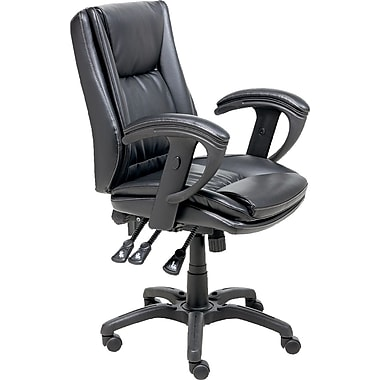 Staples® Multifunction Bonded-Leather Chair, Black