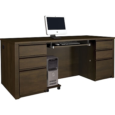 Bestar Prestige + Collection Double Pedestal Executive Desk, Chocolate