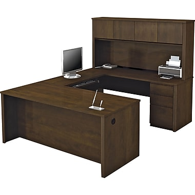 bestar bureau en u avec tag re et caisson de la collection prestige fini chocolat. Black Bedroom Furniture Sets. Home Design Ideas