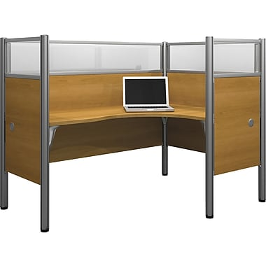 Bestar Pro-Biz Office System Single Right L-Desk Workstation, Additional Privacy Panels, Full Wall, Cappuccino Cherry