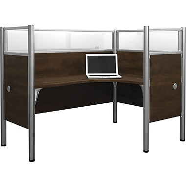 Bestar Pro-Biz Office System Single Right L-Desk Workstation, Additional Privacy Panels, Full Wall, Chocolate