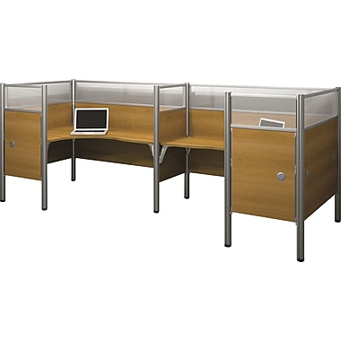 Bestar Pro-Biz Office System Double Back-to-Back L-Desk Workstation, Additional Privacy Panels, Full Wall, Cappuccino Cherry