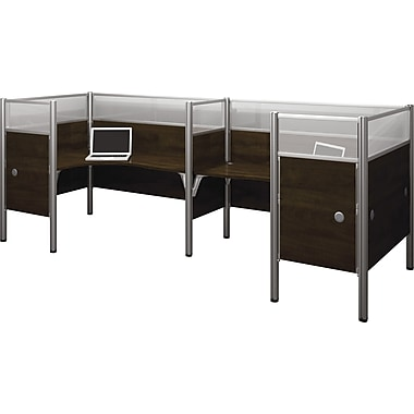 Bestar Pro-Biz Office System Double Back-to-Back L-Desk Workstation, Additional Privacy Panels, Full Wall, Chocolate