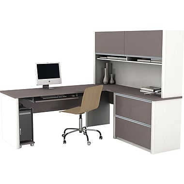 Bestar Connexion L-Workstation w/ Hutch and Oversized Pedestal